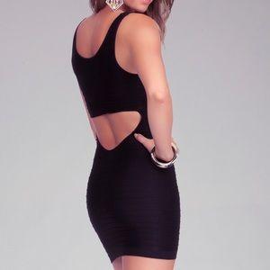 Bebe Black bodycon cut out dress